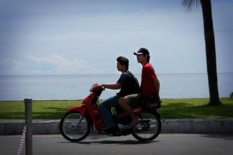 Two dudes, one bike... photo